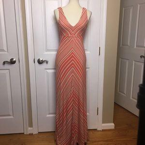 bebe Orange Tan Striped Maxi Dress Size S